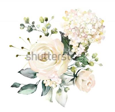 Sticker fleurs d'aquarelle. illustration florale, feuille et boutons. Composition botanique pour mariage ou carte de voeux. branche de fleurs - roses d'abstraction, hortensia