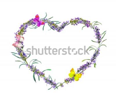 Sticker Fleurs de lavande et papillons. Cadre coeur aquarelle floral pour la Saint Valentin, mariage