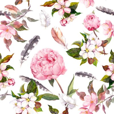 Sticker Fleurs de pivoine, sakura, plumes. Vintage motif floral sans couture. Aquarelle