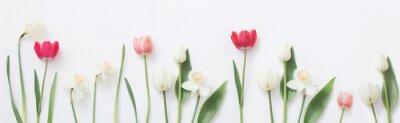 Sticker fleurs de printemps sur fond blanc