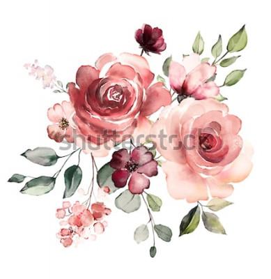 Sticker fleurs décoratives d'aquarelle. illustration florale, feuille et boutons. Composition botanique pour mariage ou carte de voeux. branche de fleurs - roses d'abstraction, romantique