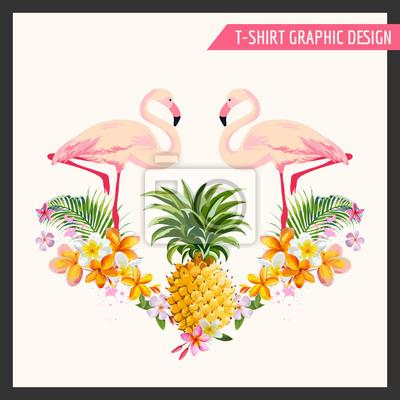 Sticker Fleurs tropicales et Flamingo Graphic Design - pour t-shirt, de la mode