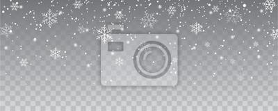 Sticker Flocons de neige tombant fond isolé de décoration de Noël. Neige blanche volant sur transparent