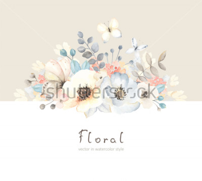 Sticker Floral card with flowers, leaves, branches and butterfies in vintage watercolor style. Holiday template for your text, vector illustration on beige and white background.