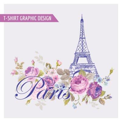 Sticker Floral de Paris Graphic Design - pour t-shirt, de la mode, gravures