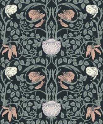 Sticker Floral pattern sans couture vintage pour fonds d'écran rétro. Fleurs Vintage Enchanted. Mouvement Arts and Crafts inspiré.
