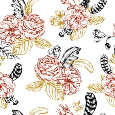 Sticker Floral, seamless, fond, roses, plumes