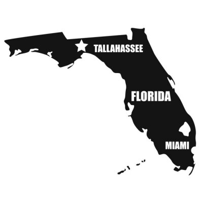 Florida map in black on a white background