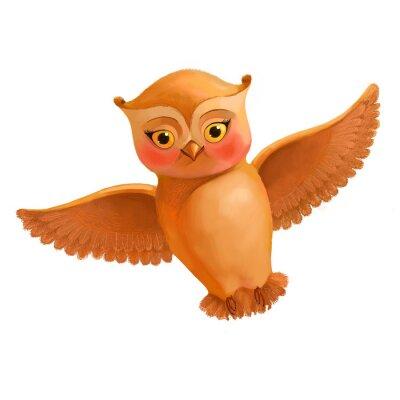 Sticker Flying hibou icône. Illustration, dessin animé, style, brun, hibou. S