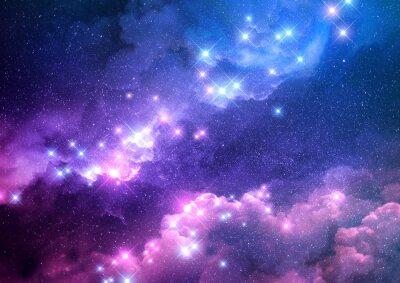 Sticker Fond abstrait galaxie rose et bleu rempli d'étoiles brillantes. Illustration raster.