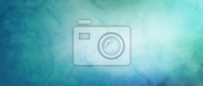 Sticker fond aquarelle bleu et vert avec le concept abstrait ciel nuageux avec dessin de couleur splash et taches saignantes et blobs