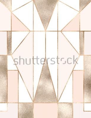 Sticker Fond Art déco avec les formes géométriques, les triangles, les rectangles, les lignes, les carrés de paillettes d'or.