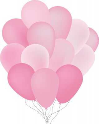 Fond, beau, rose, ballons