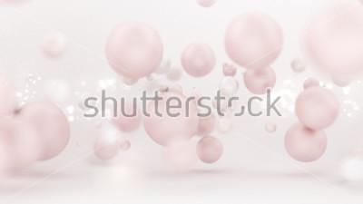 Sticker Fond blanc lumineux avec des ballons. Illustration 3D, rendu 3d.