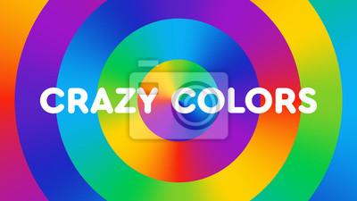 """Fond coloré composé de cercles dégradés arc-en-ciel avec le texte """"couleurs folles"""". Illustration de couleur amusante, lumineuse et joyeuse. Art du spectre des couleurs."""