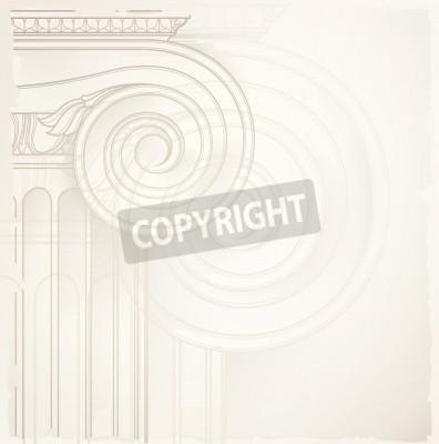 Sticker fond d'architecture, colonne ionique, dessin vectoriel