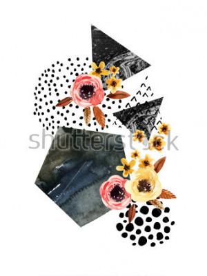 Sticker Fond d'automne: feuilles tombantes, fleurs, éléments géométriques. Illustration aquarelle avec feuille, triangles, marbre, couleur de l'eau, textures de dessin à main levée pour la conception