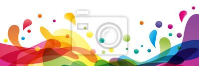 Sticker Fond d'été et bannière avec de l'eau, éclaboussures et vagues en forme abstrait vectorielle