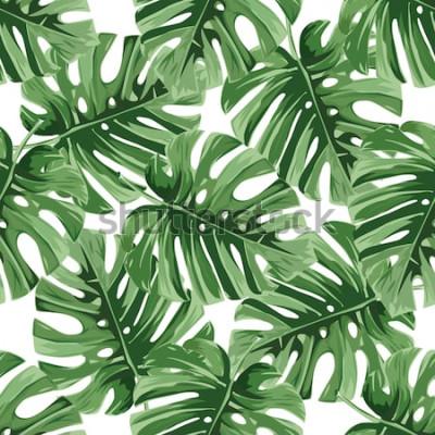 Sticker Fond d'été. Feuilles de palmier tropical, jungle laisse motif floral vectorielle continue.