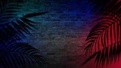 Sticker Fond d'un couloir vide avec murs de briques et néon. Murs de brique, rayons néon et lueur