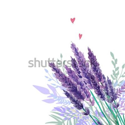 Sticker Fond de bouquet aquarelle lavande. Cadre avec plantes vintage peintes à la main, décor floral et coeurs. Illustration vectorielle