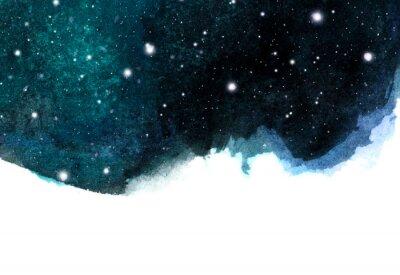Sticker Fond de ciel de nuit aquarelle avec des étoiles. mise en page cosmique avec un espace pour le texte.