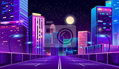 Sticker Fond de concept de vecteur avec la ville de nuit illuminée avec des lumières rougeoyantes au néon. Cityscape futuriste dans les couleurs bleu et violet, panorama avec des bâtiments modernes et gratte-
