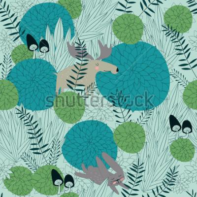Sticker Fond de forêt transparent avec les plantes de la forêt mignonne, élan, lièvre et champignons en bande dessinée.
