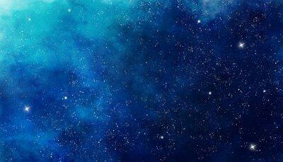 Sticker Fond de l'espace aquarelle bleu. Peinture d'illustration
