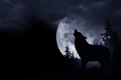 Sticker Fond de loup hurlant