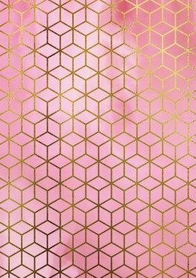 Sticker Fond de marbre aquarelle avec motif cubique géométrique.