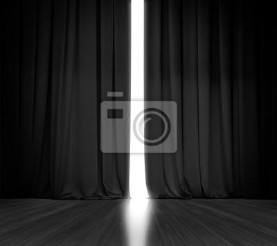 Sticker Fond de rideau noir avec une lumière brillante derrière