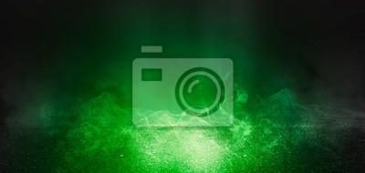Sticker Fond de scène vide avec sol en béton, néons et fumée. Couleur de fond vert UFO