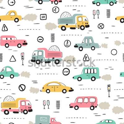 Sticker Fond de transport de dessin animé pour les enfants. Vector Seamless Pattern avec doodle Toy Cars et panneaux de signalisation