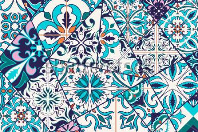 Sticker Fond décoratif de vecteur. Mosaïque de motifs et patchwork pour le design et la mode. Carreaux portugais, Azulejo, ornements marocains