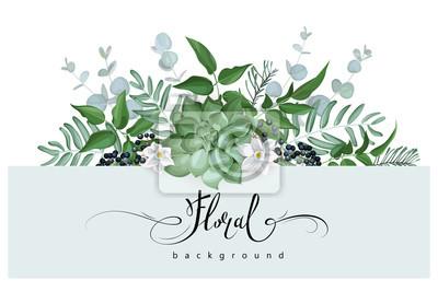 Sticker Fond floral avec succulentes