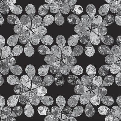 Fond floral noir et blanc