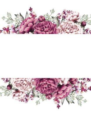 Sticker Fond floral peint à la main pour votre texte. Modèle. Cadre.