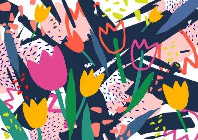 Sticker Fond horizontal créatif avec des fleurs de tulipe et des taches abstraites colorées et dessin à main levée. Fond décoratif coloré brillant. Illustration de vecteur artistique branché dans le style de