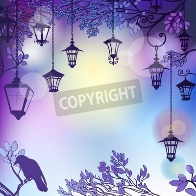 Sticker fond Matin avec des branches d'arbres et des lampadaires rétro