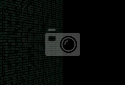 Sticker Fond noir avec un flux binaire. Illustration vectorielle