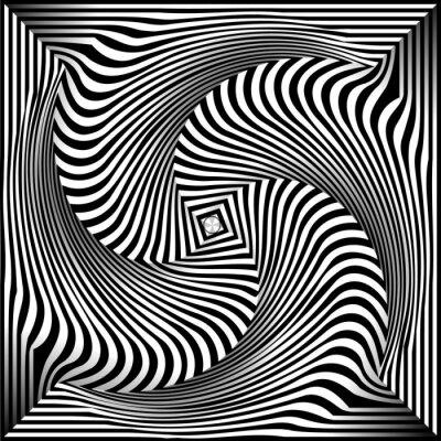 Sticker Fond noir et blanc Opt Art