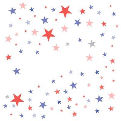Sticker Fond patriotique des États-Unis dans les couleurs du drapeau avec des étoiles émoussées fanées dispersées sur un fond blanc