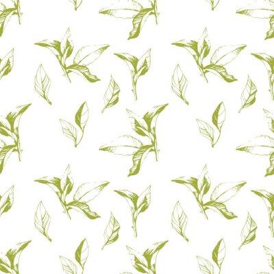 Sticker Fond sans soudure des feuilles. Style d'esquisse.