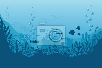 Sticker Fond sous-marin de la mer. Fond d'océan aux algues. Scène marine de vecteur