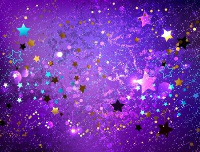 Sticker Fond violet avec des étoiles