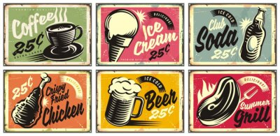 Sticker Food and drinks vintage restaurant signs collection. Set of retro advertisements for coffee, beer, ice cream, club soda, grill and fried chicken. Vector illustration.