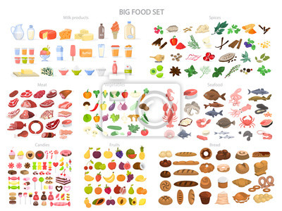 Sticker Food set. Collection of various meal, fish and meat