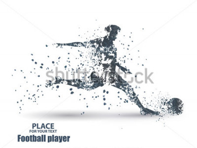 Sticker Football player, kick a ball, particle divergent composition, vector illustration