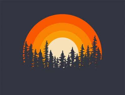 Sticker Forest landscape trees silhouettes with sunset on background. T-shirt or poster design illustration. Vector illustration